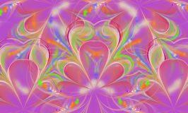 Abstract colored background of hearts and petals. Fractal. The combination of lilac, pink and green. Floral motifs in symmetrical ornament Stock Image