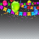 Abstract colored background. Abstract colored illustration on transparent background with balloons, garlands of colored flags, streamers and confetti. Holiday Royalty Free Stock Photography