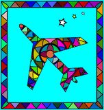 Colored image of airplane. Abstract colored background image of airplane consisting of lines and figures Stock Photos