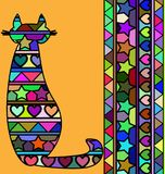 Abstract colored cat. Abstract colored background image of cat consisting of lines and figures royalty free illustration
