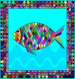 Frame and fish. Abstract colored background image of fish consisting of lines and figures Stock Photos