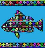 Abstract colored fish. Abstract colored background image of fish consisting of lines and triangles Stock Photos