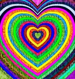 Color abstract hearts. Abstract colored background image of heart consisting of lines and cubes royalty free illustration