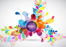 Abstract colored background with leafs. And place for your text Stock Image