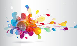 Abstract colored background with leafs. Vector art Stock Image