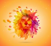 Abstract colored background with shapes reminding lions head stock images
