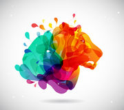 Abstract colored background with shapes reminding lions head. Vector art royalty free illustration