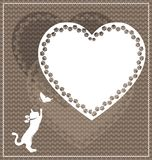 Abstract colored beige image of love and cat. Abstract colored background image of cat consisting of lines and figures stock illustration