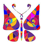 Abstract colored butterfly. Abstract image of butterfly consisting of lines Stock Images