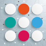Abstract 9 Colored Circles Networks. Infographic with circles on the white background stock illustration