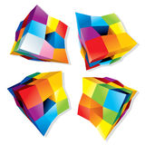 Abstract Colored Cubes. Set of Abstract Colorful Cubes, 3D Vector Design Elements or Logos Stock Images
