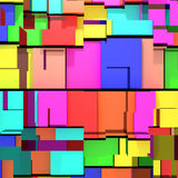 Abstract colored cubes. 3d rendering of an abstract composition with cubes of a lot of colors Stock Images