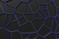 Abstract colored 3d voronoi grate on black background. Speaker grille. Chaotic line structure. 3D render illustration Stock Images