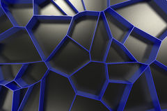 Abstract colored 3d voronoi grate on black background. Speaker grille. Chaotic line structure. 3D render illustration Royalty Free Stock Photo