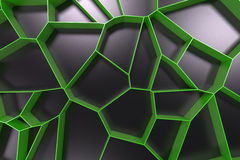 Abstract colored 3d voronoi grate on black background. Speaker grille. Chaotic line structure. 3D render illustration Royalty Free Stock Photography