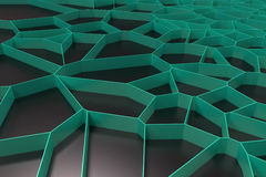 Abstract colored 3d voronoi grate on black background. Speaker grille. Chaotic line structure. 3D render illustration Stock Photos