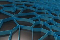 Abstract colored 3d voronoi grate on black background. Speaker grille. Chaotic line structure. 3D render illustration Royalty Free Stock Photos