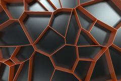 Abstract colored 3d voronoi grate on black background. Speaker grille. Chaotic line structure. 3D render illustration Royalty Free Stock Image