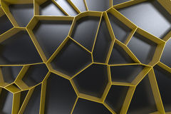 Abstract colored 3d voronoi grate on black background. Speaker grille. Chaotic line structure. 3D render illustration Stock Photography