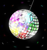 Abstract colored disco ball. Black background and abstract colored specular disco ball Vector Illustration