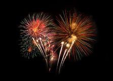 Abstract colored firework background with free space for text. stock images