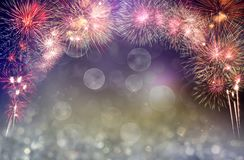 Abstract colored firework background with free space for text. Firework background used for New Year celebrations or important stock photography