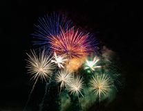 Abstract colored firework background used for overlay new year f. Estival Royalty Free Stock Image
