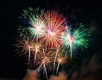Abstract colored firework background used for overlay new year f Stock Photo