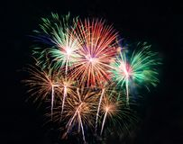 Abstract colored firework background used for overlay new year f Royalty Free Stock Photography