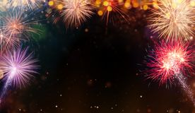 Abstract Colored Firework Background With Free Space For Text. Stock Image