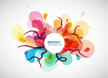 Abstract colored flower background with circles and brush stroke Stock Photography
