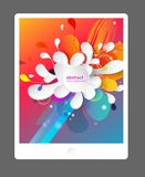 Abstract colored flower background with circles. Abstract colored flower background with circles and brush strokes. Tablet background stock illustration