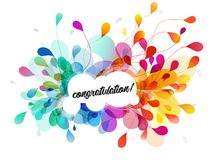 Abstract colored flower background with congratulation text. Vector art vector illustration