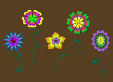 Abstract colored  flowers background Royalty Free Stock Images