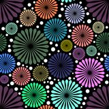 Abstract colored flowers on black background. Eps Stock Photo
