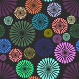 Abstract colored flowers on black background. Eps Stock Image