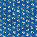 Abstract colored flowers on blue background seamless pattern Royalty Free Stock Photo