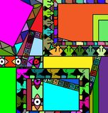 Abstract colored frames. Abstract colored background image of frame consisting of lines and figures stock illustration