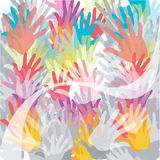 Seamless pattern, prints of hands. Abstract colored hands background Stock Illustration