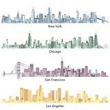 Abstract colored illustrations of urban United States of America skylines Royalty Free Stock Image