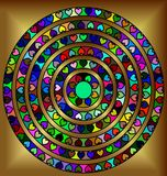 Golden abstract circles. Abstract colored image of circle consisting of lines and figures Stock Images
