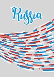 Abstract colored lines poster with Russia lettering. Gray background. Vector illustration. Vertical. Abstract colored lines poster with Russia lettering on gray Royalty Free Stock Image