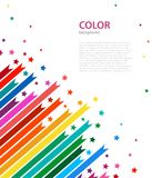 Abstract colored lines and stars. Vector illustration. Abstract cover for your projects on white background Stock Image