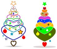 Abstract colored x mass tree with love heart Stock Photos