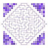 Abstract colored maze decorated with mosaic. An interesting game for children and teenagers. Simple flat vector illustration isola. Ted on white background Stock Photos