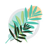 Abstract colored modern Greeting card. With leaves Royalty Free Stock Photos