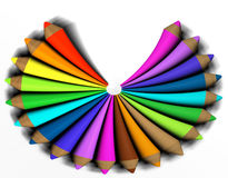 Abstract colored pencil. On white background - 3d render stock illustration