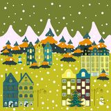 Colorful bright houses with trees on the hills stock illustration