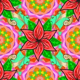 Abstract colored picture. Cartoon trace doodles New Year season seamless pattern. Graphics detailed, with lots of objects pink, green and orange colors. Endless Royalty Free Stock Photos