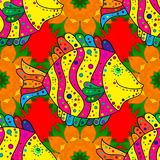 Abstract colored picture. Cute texture fish pattern. Fishes on yellow, orange and red colors. Seamless colorful background. Vector illustration vector illustration